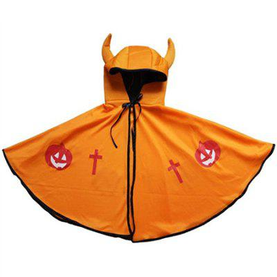 Cool Hooded Cape Halloween Cloak with Ox Horn for Kids