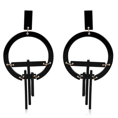 Individuality Fashion Geometric Two-color Splicing Acrylic Plate Earrings for Decoration