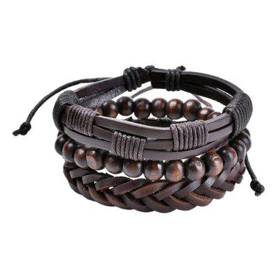 Fashionable Unisex PU Knitted Bracelet 3pcs