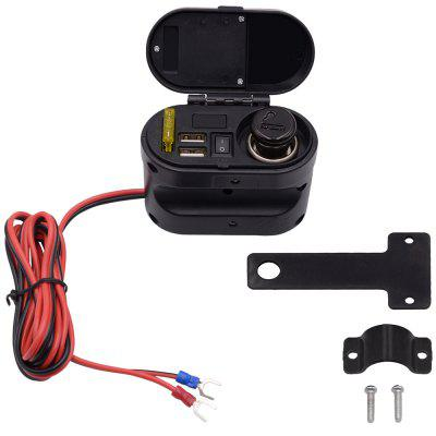 CS - 682A1 Motorcycle Cigarette Lighter Dual USB Ports Charger with Voltmeter Time Display