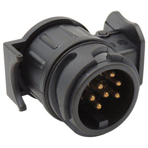 13 To 7 Pin 12V  Plug Adapter Electrical Converter Truck Trailer Connector Black