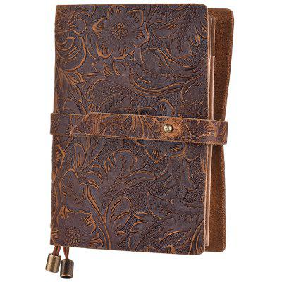 SP1352 Cowskin Leather Retro Travel Notebook with Embossed Flower Pattern