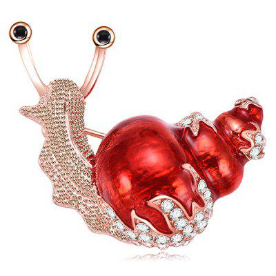 Lovely Snail Crystal Brooch Pin for Woman Girl