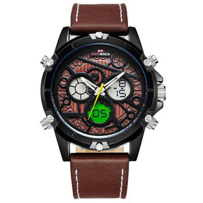 KAT - WACH 712 Digital Watch with Leather Band