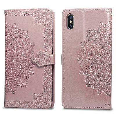 Mandala Embossing Series Capa de Couro para iPhone XS Max / iPhone XR / iPhone XS