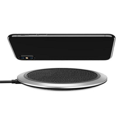 Floveme Ultra-thin PU Leather Stripe Qi Fast Wireless Charger for iPhone 8 Plus