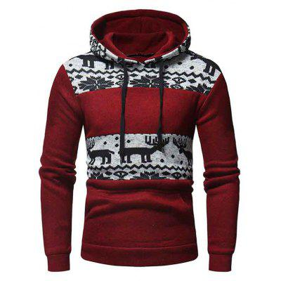 WSGYJ Men Hoodies Hooded Splicing Christmas