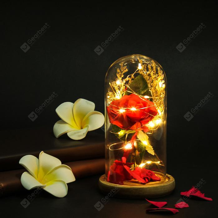 Artificial Rose Led Light Glass Cover Ornament for Home Decoration - MULTI-A