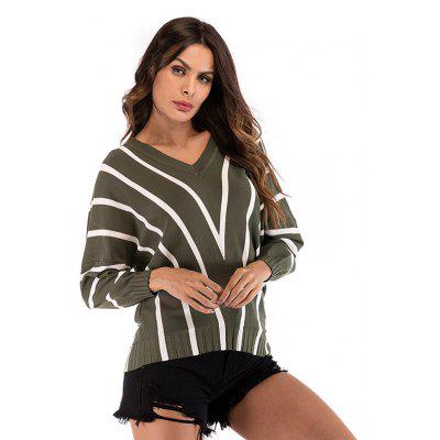 Women Sweater V Neck Stripe
