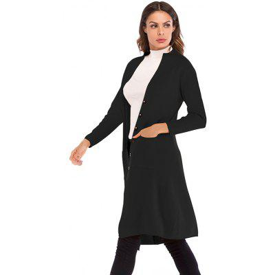 Women Knitwear Long Coat Button