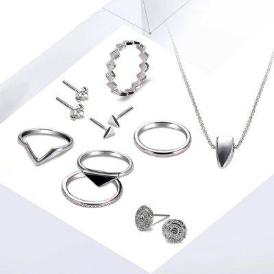 Alloy Simple Design Finger Ring Necklace Earrings Jewelery Set