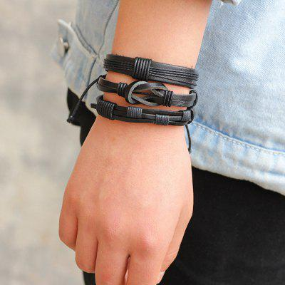 Black Leather Woven Bracelet Set