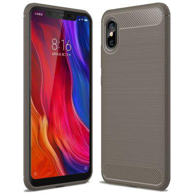 ASLING Carbon Fiber TPU Soft Back Cover Case for Xiaomi Mi 8 Pro