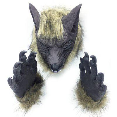 Halloween Cosplay Masquerade Dance Animal Wolf Glove Mask Headgear