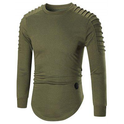 Men's Long Sleeve Hoodies with Pleated Design