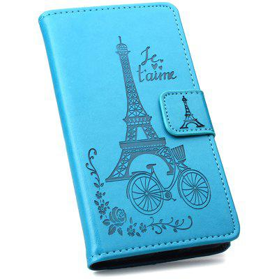 Embossing Tower Phone Leather Cover for Samsung Galaxy J4