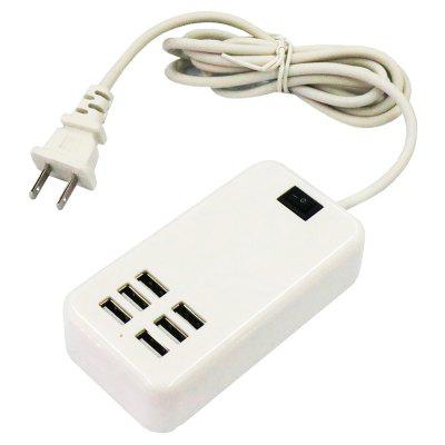 US Plug 30W 6 x USB Port Travel Charger with Power Cable