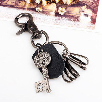 Vintage Alloy Leather Keychain