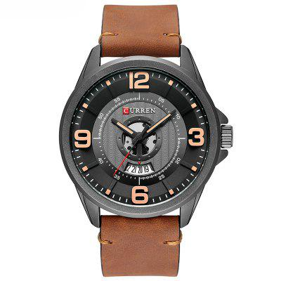 Business Quartz Watch with Leather Band