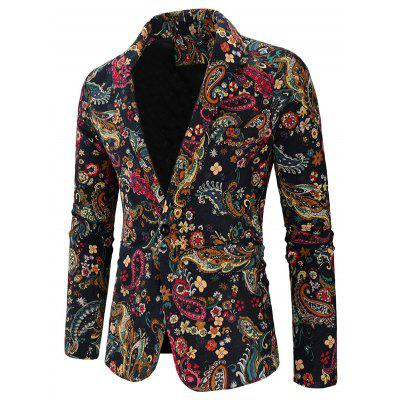 Men Blazer Leisure Printed Cotton