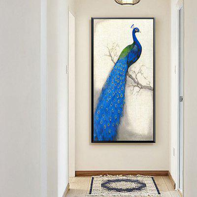 Living Room Bedroom Mural Corridor Hanging Picture Porch Vertical Peacock Oil Painting with Frame