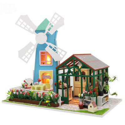 Creative DIY Cottage Windmill Flower House Wooden Toy Model Set