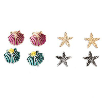 Fashion Sea Design Alloy Earrings 4 Pairs