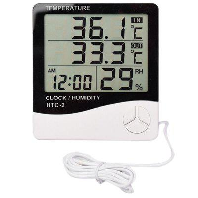 HTC - 2 Digital Thermometer Hygrometer Clock Calendar with Sensor Probe