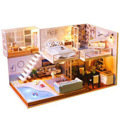 Creative DIY Drevené Cottage Dollhouse Toy Model Set