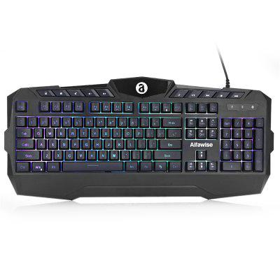 Gearbest Alfawise ZK - G082 RGB Membrane Keyboard - BLACK Quiet Splash-resistant for Gaming / Typing