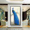 Living Room Bedroom Mural Corridor Hanging Picture Porch Vertical Peacock Oil Painting with Frame - BLUEBERRY BLUE