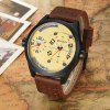 CURREN 8252 Fashion Waterproof Male Dual Movt Watch - COFFEE