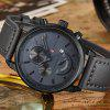 Male Fashion Quartz Watch with Leather Band - GRAY