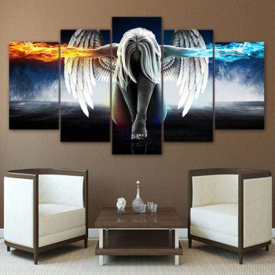 Hand Painted Angle Wings Oil Painting Modern Canvas for Home Decoration 5pcs