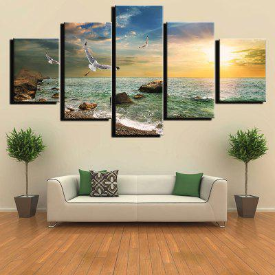 Beautiful Seaside Sunset Seabirds Printing Painting 5pcs