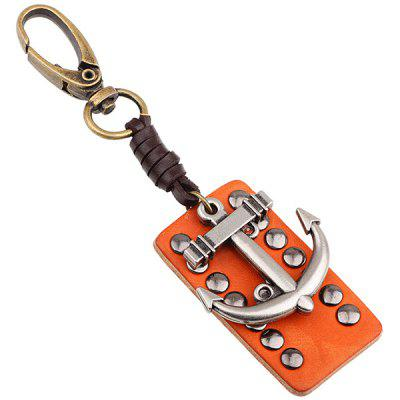 Weaving Cow Leather Rivet Anchor Pattern Keyring