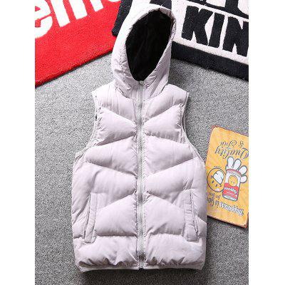 Winter Hooded Stand Collar Printed Embroidery Pattern Vest