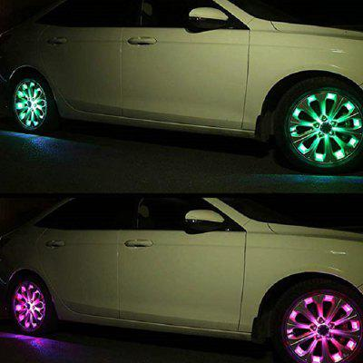 Car Solar Energy Saving Flash Color Wheel Light 4pcs