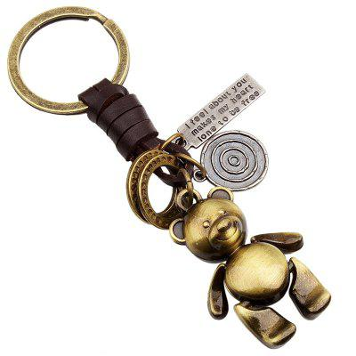 Cute Little Bear Doll Keychain Vintage Alloy Woven Leather Rope