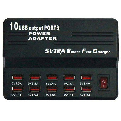 40W 12A 10-port USB Smart Fast Charger Power Adapter UK Plug