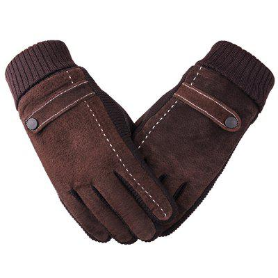 Touch Screen Pigskin Gloves Cycling Motorcycle Winter Thickening Plus Warm Gloves