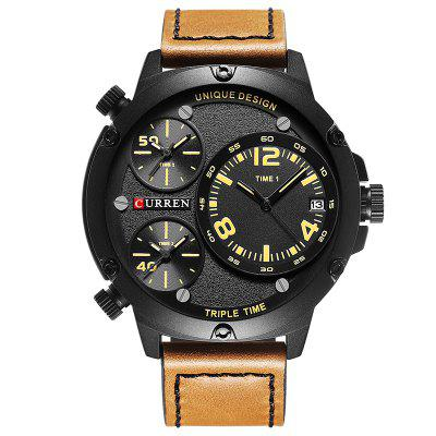 CURREN 8262 Waterproof Tri-core Large Dial Men Calendar Multiple Time Zone Watch