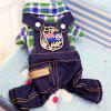 Cat Dog Plaid Four-legged Suspender Jeans - JUNGLE GREEN