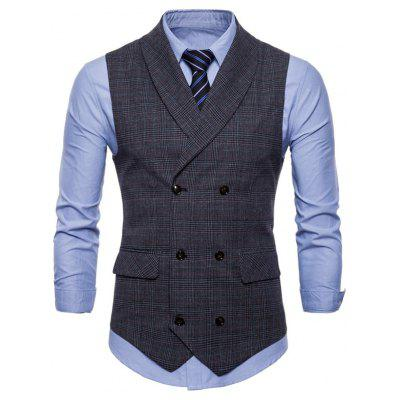 British Business Vest Fashion Slim Casual Lattice Small Vest