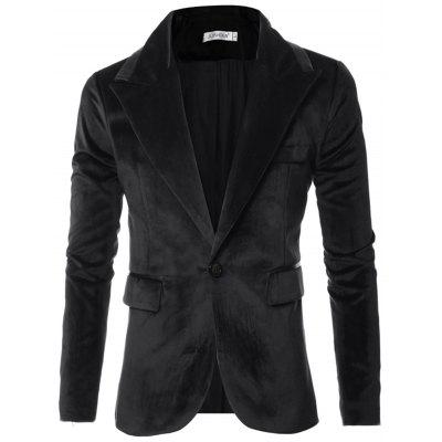 Men Suits Fashion Glossy Design Slim Grain Buckle Suit Jacket