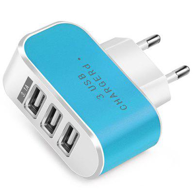 Candy Color 5V 3.1A 3 Port Power Adapter USB Charger for Mobile Phone Tablet