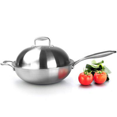 CG32A1 304 Multilayer Stainless Steel Wok Uncoated Universal Cookware