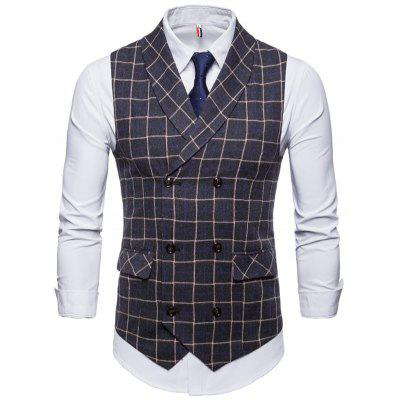 Plaid Double Breasted Men Casual Vest Waistcoat