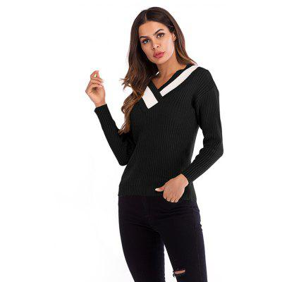 Women V-ollar Stitching Knit Long Sleeve Pullover Sweater