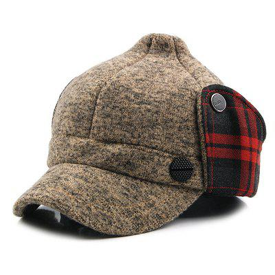Man Knitted Warm Bomber Peaked Cap